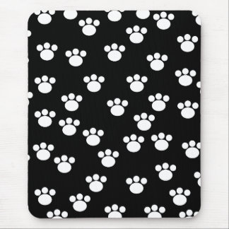 Black and White Animal Paw Print Pattern. Mouse Mat