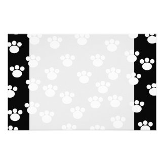 Black and White Animal Paw Print Pattern. Personalized Stationery