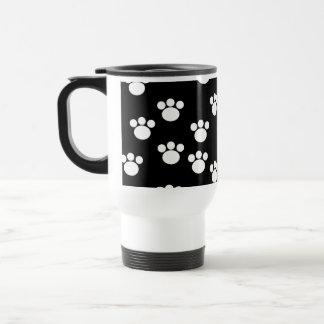 Black and White Animal Paw Print Pattern. Stainless Steel Travel Mug