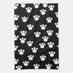 Black and White Animal Paw Print Pattern. Kitchen Towels
