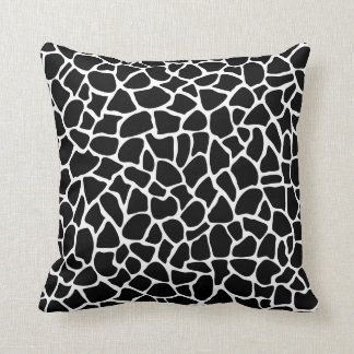 Black and White Animal Print Giraffe Pattern Cushion