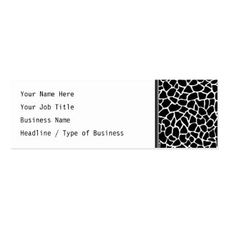 Black and White Animal Print Giraffe Pattern Pack Of Skinny Business Cards