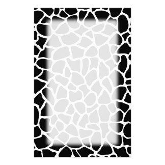 Black and White Animal Print Giraffe Pattern Stationery