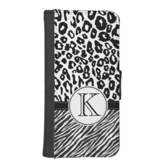 Black and White Animal Print iPhone SE/5/5s Wallet Case