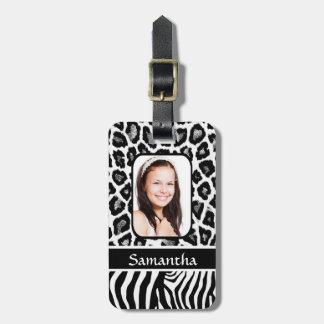 Black and white animal print luggage tag