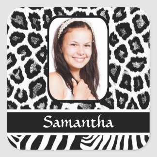 Black and white animal print square sticker