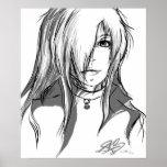 Black and white anime girl poster