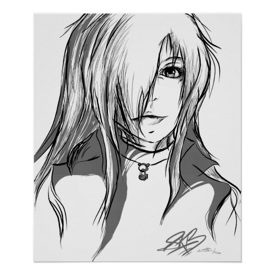 Black And White Anime Girl Poster Zazzle Co Uk