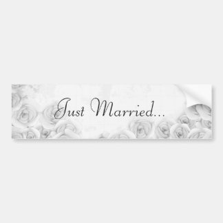Black and white antique rose car bumper sticker