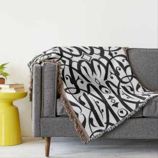 Black and White Arabic Calligraphy Blanket