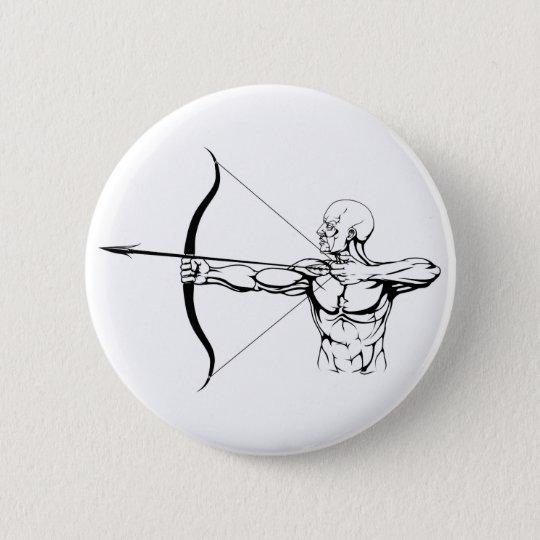 Black and white archer illustration 6 cm round badge