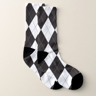 Black and White Argyle Pattern Socks