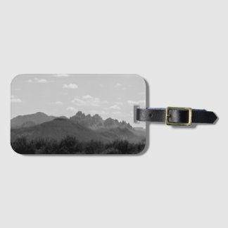 Black and White Arizona American West Mountains Luggage Tag