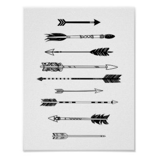 Black and White Arrows Poster