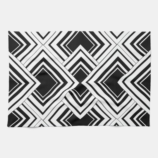 Black And White Art Deco Design Tea Towel