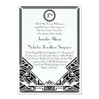 Black and White Art Deco Gatsby Wedding Invites