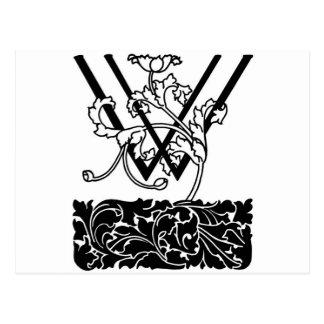 Black and White Art Deco Monogram W Floral Postcard