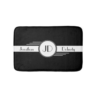 Black and White Art Deco Monogrammed Bath Mat