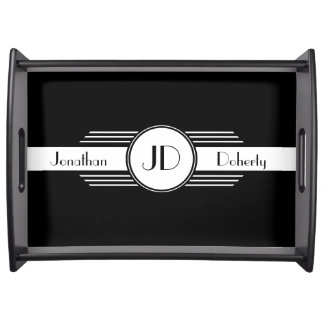 Black and White Art Deco Monogrammed Serving Tray