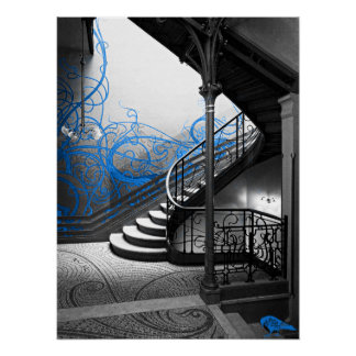 Black and White Art Deco Stairwell with Blue Poster