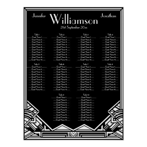 Black and White Art Deco Wedding Seating Chart