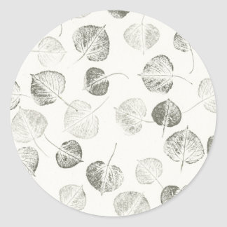 Black and White Aspen Leaves Classic Round Sticker