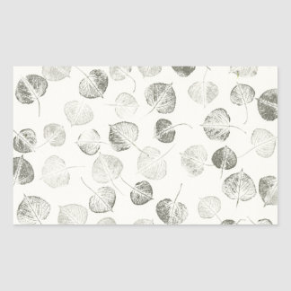 Black and White Aspen Leaves Rectangular Sticker
