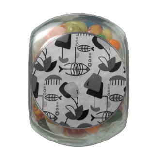 Black and White Atomic Pattern Candy Jar Jelly Belly Candy Jar
