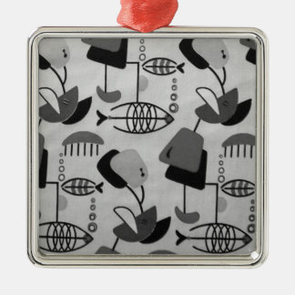 Black and White Atomic Pattern Christmas Ornament