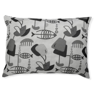 Black and White Atomic Pattern Dog Bed