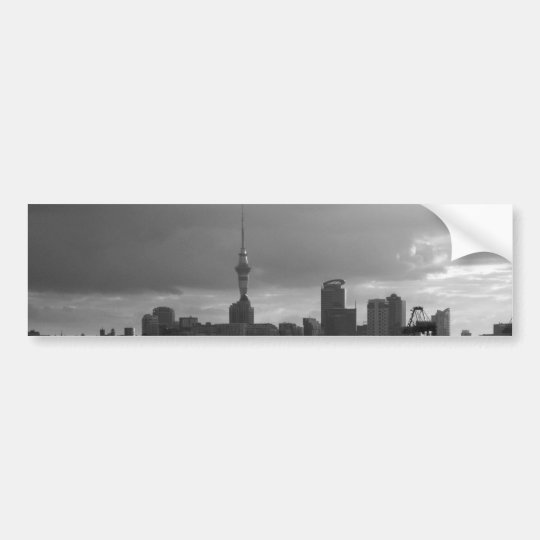 Black and White Auckland Skyline Bumper Sticker