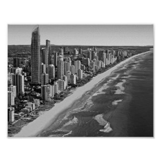 Black and White Australia Gold Coast Poster