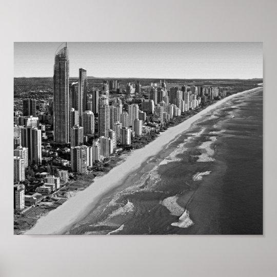 Black and White Australia Gold Coast Poster
