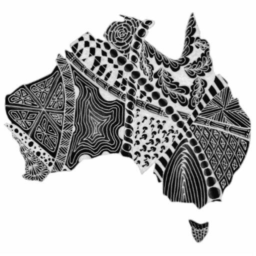 Black and White Australia Map Art Original Photo Cutout