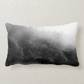 Black and White Autumn forest Lumbar Cushion