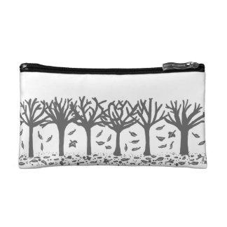 Black and white Autumn trees Makeup Bag