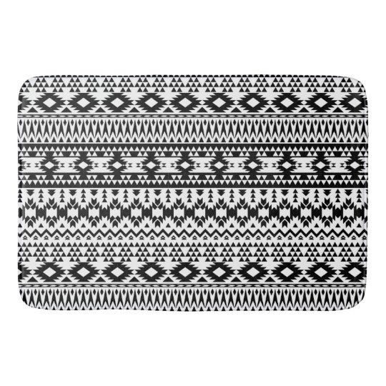 Black and White Aztec geometric vector pattern Bath