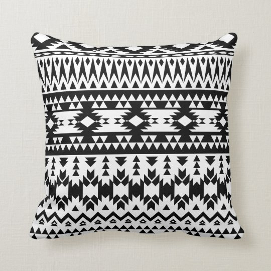 Black and White Aztec geometric vector pattern Cushion