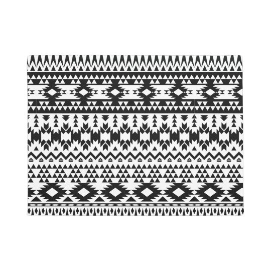 Black and White Aztec geometric vector pattern Doormat