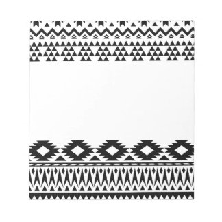 Black and White Aztec geometric vector pattern Notepad