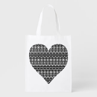Black and White Aztec Heart Reusable Grocery Bag