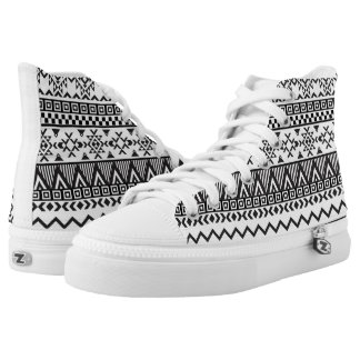 Black and White Aztec Pattern High Top Shoes