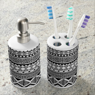black and white Aztec pattern Soap Dispenser And Toothbrush Holder