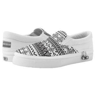 Black and White Aztec PatternTop Shoes Printed Shoes