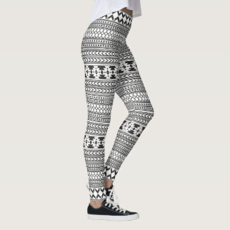 Black And White Aztec Print Leggings
