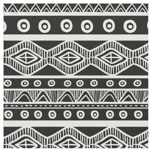 Black and White Aztec Tribal Pattern Fabric 2