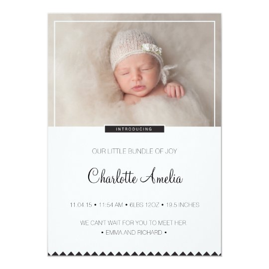 Black and White Baby Announcement for Boy or