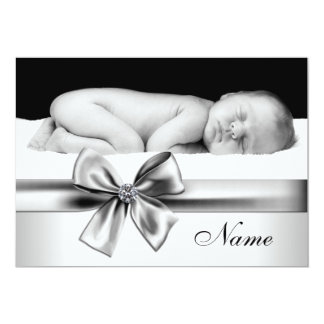 Black and White Baby Photo Birth Announcements