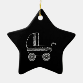 Black and White Baby Stroller. Christmas Ornament
