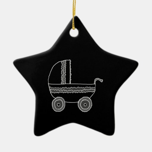 Black and White Baby Stroller. Christmas Ornaments